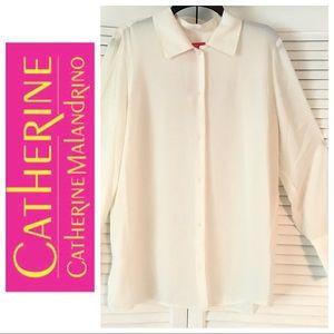 w/TAG WHITE BLOUSE TOP Catherine Malandrino